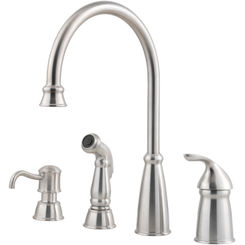 Click here to see Pfister GT26-4CBS Pfister GT26-4CBS Avalon One Handle Kitchen Faucet, Stainless Steel