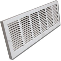 Click here to see Shoemaker 1133-24X6 24x6 Soft White Baseboard Return Air Grille Stamped Face - Shoemaker 1133