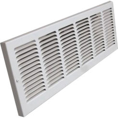 Click here to see Shoemaker 1133-30X6 30x6 Soft White Baseboard Return Air Grille Stamped Face (Steel) - Shoemaker 1133