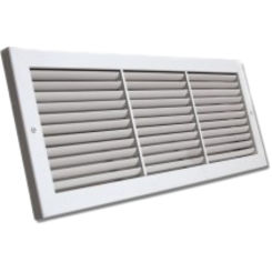 Click here to see Shoemaker 1100FF-28X8 28x8 Soft White Deluxe Baseboard Return Air Grille (Aluminum) - Shoemaker 1100FF