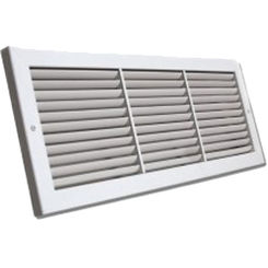 Click here to see Shoemaker 1100-26X14 26x14 Soft White Deluxe Baseboard Return Air Grille (Aluminum) - Shoemaker 1100