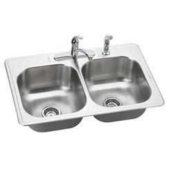 Click here to see Elkay DSE233224DF Elkay DSE233224DF Dayton Stainless Steel Double Bowl Sink Package