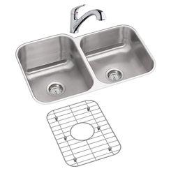 Click here to see Elkay DXUH312010RDFBG Elkay DXUH312010RDFBG Dayton Stainless Steel Double Bowl Sink Package