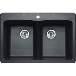 Click here to see Blanco 440220 Blanco 440220 Diamond Silgranit Dual Mount Equal Double-Bowl Sink (Anthracite)