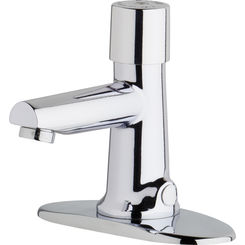 Click here to see Chicago Faucet 3501-4E2805ABCP Chicago Faucets 3501-4E2805ABCP Hot and Cold Water Metering Mixing Sink Faucet