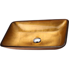 Click here to see Kraus GVR-210-RE Kraus C-GVR-210-RE-10 Golden Pearl Rectangular Glass Vessel Sink and Waterfall Faucet