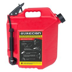 Click here to see SureCan SUR50G1 SureCan 5 Gallon Red Gas Can for Gasoline - SUR50G1