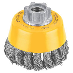 Click here to see Dewalt DW4910 Dewalt DW4910 Knot Wire Cup Brush, 3in Dia x 5/8-11, 0.02in Wire, Carbon Steel