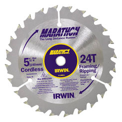 Click here to see Irwin 14011 Marathon 14011 Circular Saw Blade, 5-1/2 in Dia, 24 Teeth, 0.393 in Arbor