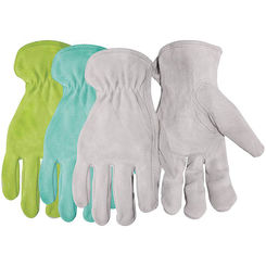Click here to see Boss 737 Boss 737 Assorted Driver Gloves, Women's/One Size, Premium Split Leather, Gray/Blue/Green