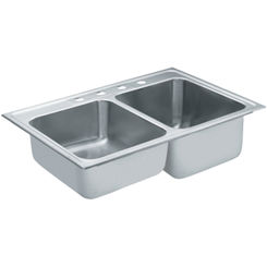 Click here to see Moen 22122 Moen Commercial 22122 Stainless Steel Double Bowl Sink