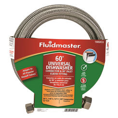 Click here to see Fluidmaster 1W60CU Fluidmaster 1W60CU Braided Universal Dishwasher Connector, 60 in Length, 3/8 in Compression