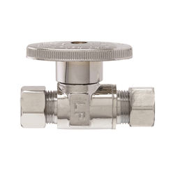 Click here to see Plumb Pak PP2071LF Plumb Pak PP2071LF Quarter Turn Straight Stop Valve, 3/8 X 3/8 in, Compression X Compression, Brass, Chrome Plated