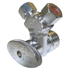 Click here to see Plumb Pak PP2901VLF Plumb Pak PP2901VLF 3-Way Stop Valve, 1/2 X 3/8 X 3/8 in, FIP X Compression X Compression, Chrome Plated