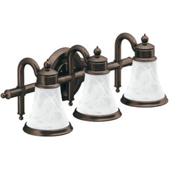 Click here to see Moen YB9863ORB Moen YB9863ORB Waterhill 3-Globe Bath Lighting, Oil-Rubbed Bronze