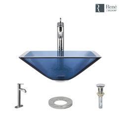 Click here to see Elkay R5-5003-CEL-R9-7001-C Rene By Elkay R5-5003-CEL-R9-7001-C Celeste Colored Glass Vessel Sink Kit