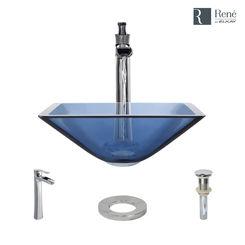 Click here to see Elkay R5-5003-CEL-R9-7007-C Rene By Elkay R5-5003-CEL-R9-7007-C Celeste Colored Glass Vessel Sink Kit