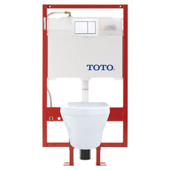 Click here to see Toto CWT437117MFG-3#01 TOTO MH Wall-Hung D-Shape Toilet and DuoFit in-wall 0.9 GPF and 1.28 GPF Dual-Flush Tank System with PEX Supply, Cotton White - CWT437117MFG-3#01