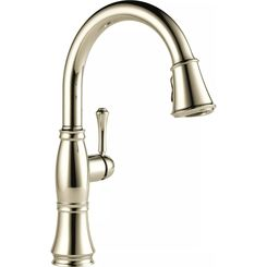 Click here to see Delta 9197-PN-DST Delta 9197-PN-DST Cassidy One Handle Pulldown Kitchen Faucet w/ ShieldSpray, Polished Nickel