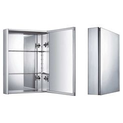 Click here to see Whitehaus WHKAL Whitehaus WHKAL Vertical Wall Mount Medicine Cabinet With Mirrored Door, Aluminum