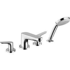 Click here to see Hansgrohe 04766000 Hansgrohe 04766000 Focus 4-Hole Roman Tub Set Trim with Handshower, Chrome