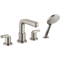 Click here to see Hansgrohe 31408821 Hansgrohe 31408821 Metris S 4-Hole Roman Tub Set Trim with Lever Handles and Handshower, Brushed Nickel