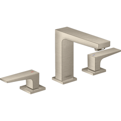 Click here to see Hansgrohe 32516821 Hansgrohe 32516821 Metropol 110 Widespread Faucet with Lever Handles and Pop-Up Drain, Brushed Nickel