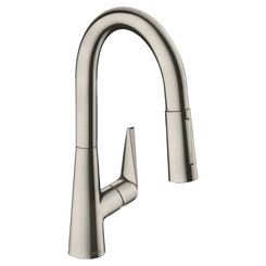 Click here to see Hansgrohe 72815801 Hansgrohe 72815801 Talis S Pull-Down Prep Kitchen Faucet, Steel Optik
