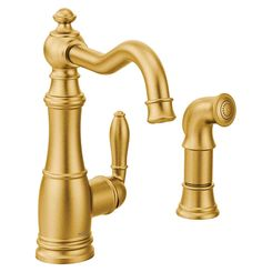 Click here to see Moen S72101BG Moen S72101BG Weymouth Single-Handle Kitchen Faucet, Brushed Gold