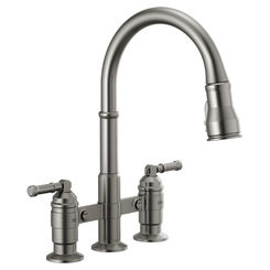 Click here to see Delta 2390L-KS-DST Delta 2390L-KS-DST Broderick Two Handle Pulldown Bridge Faucet, Black Stainless