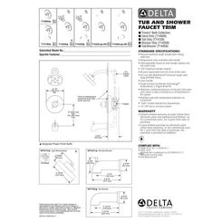 Click here to see Delta T14267-BL Delta T14267-BL Matte Black H2OKinetic Monitor Shower Trim Only