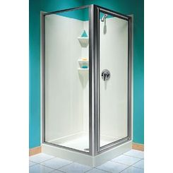 Click here to see Swanstone SD00038CG.187 Swanstone SD-38NEO-C NEO Angle Shower Door - Clear Glass/Brushed Nickel