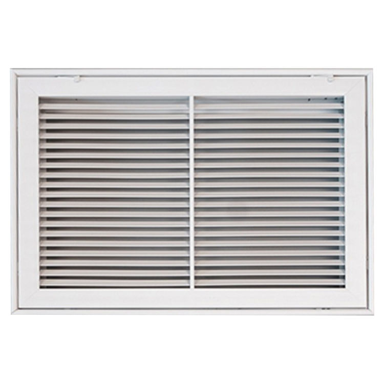 View 2 of Shoemaker 900FG-14X14 14x14 Soft White Fixed Airfoil Blade Filter Grille (Aluminum) - Shoemaker 900FG