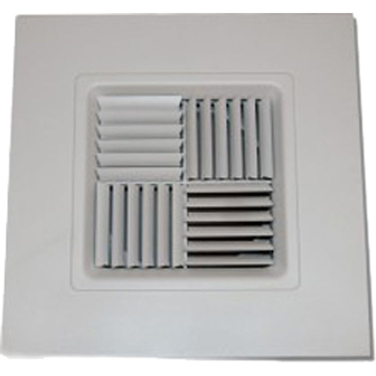 View 2 of Shoemaker 700MA0-9X9-8 9X9-8 Soft White Modular Core Diffuser in T-Bar Panel Opposed Blade Damper- Shoemaker 700MA-0