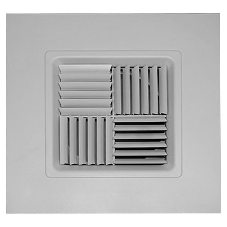 View 2 of Shoemaker 700MA0-15X15-10 15X15-10 Soft White Modular Core Diffuser in T-Bar Panel Opposed Blade Damper- Shoemaker 700MA-0