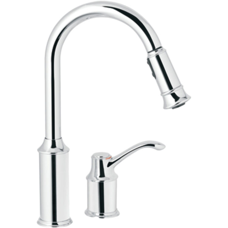 Moen 7590C Chrome Aberdeen High-Arc Single-Handle Pull Down Kitchen Faucet