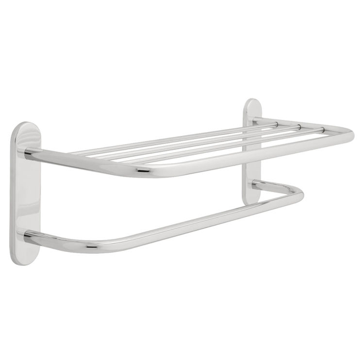 Delta 43024 Delta 43024 Commercial 24 inch Brass Towel Shelf with One Bar in Chrome Finish