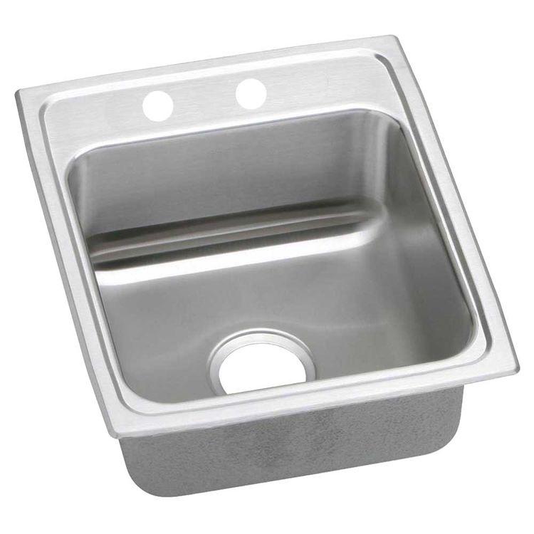 Elkay LRADQ1316402 Elkay LRADQ1316402 13 L x 16 W x 4 D Top Mount Kitchen Sink-2 Faucet Holes, Stainless Steel
