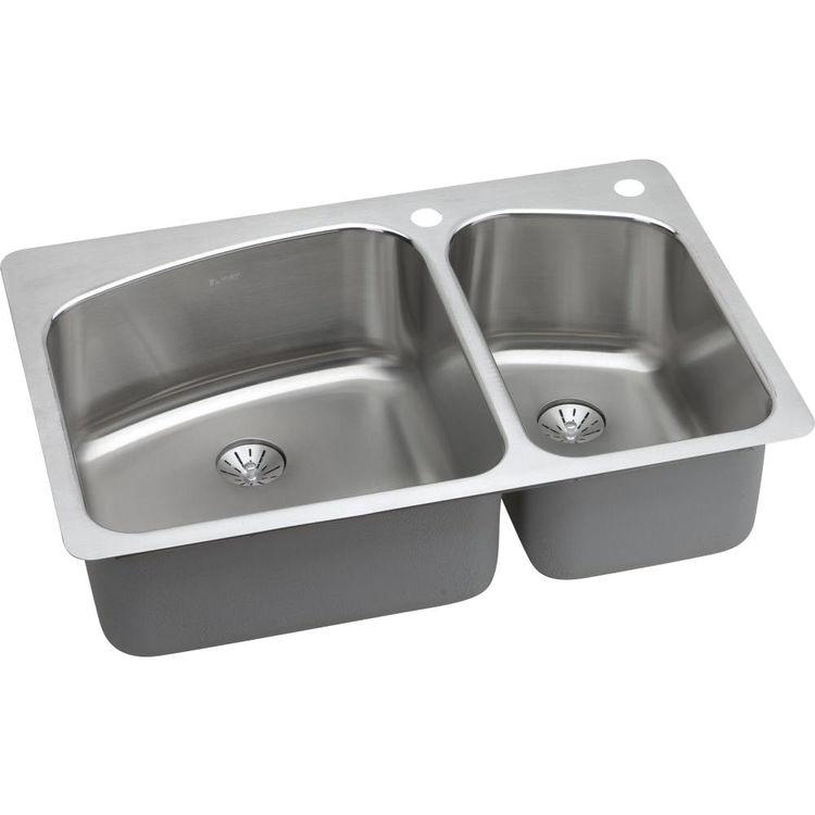 Elkay LKHSR2509RPD2R Elkay LKHSR2509RPD2R Harmony Stainless Steel Double Bowl Sink Package