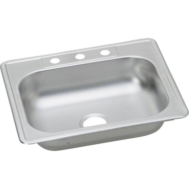 Dayton KJ125223 Elkay KJ125223 Kingsford Stainless Steel Top Mount Single Bowl Sink - 3 Faucet Hole