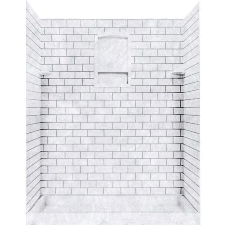 Swanstone Stmk72 4848 130 Subway Tile Shower Wall Kit 48x48x72 Ice