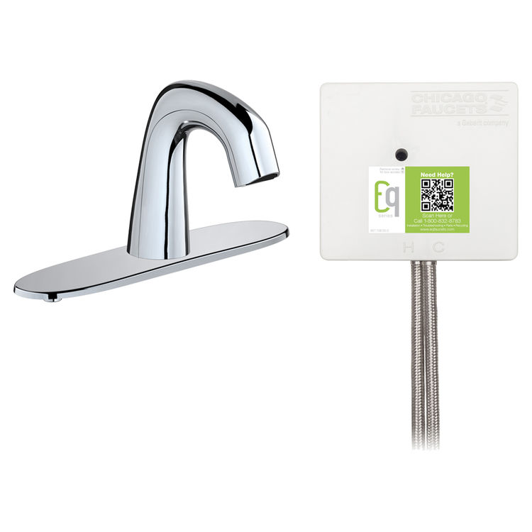 View 2 of Chicago Faucet EQ-D13A-33ABCP Chicago Faucets EQ-D13A-33ABCP EQ Chrome EQ Curved Series Lavatory Sink Faucet with Hands-free Infrared Detection
