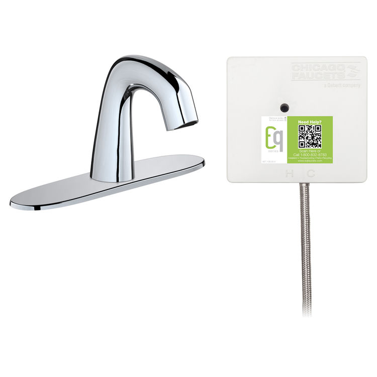 View 2 of Chicago Faucet EQ-A13A-11ABCP Chicago Faucets EQ-A13A-11ABCP EQ Chrome EQ Curved Series Lavatory Sink Faucet with Hands-free Infrared Detection