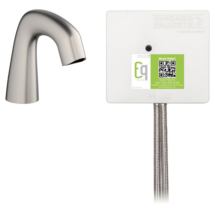Chicago Faucet EQ-A11A-42ABBN Chicago Faucets EQ-A11A-42ABBN EQ Brushed Nickel EQ Curved Series Lavatory Sink Faucet with Hands-free Infrared Detection