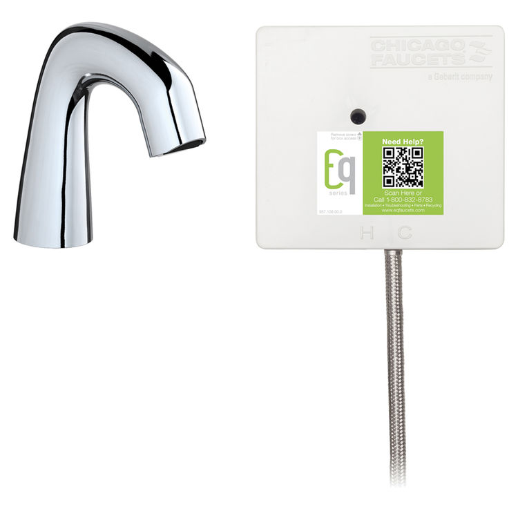 View 2 of Chicago Faucet EQ-A11A-41ABCP Chicago Faucets EQ-A11A-41ABCP EQ Chrome EQ Curved Series Lavatory Sink Faucet with Hands-free Infrared Detection