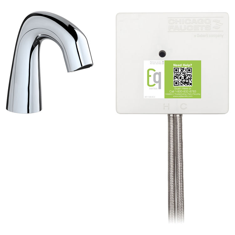 View 2 of Chicago Faucet EQ-D11A-33ABCP-MP Chicago Faucets EQ-D11A-33ABCP-MP EQ Chrome EQ Curved Series Lavatory Sink Faucet with Hands-free Infrared Detection - Master Pack of 6