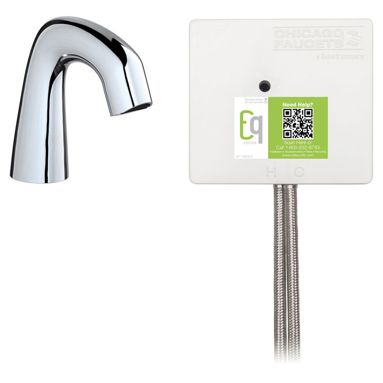View 2 of Chicago Faucet EQ-A11B-22ABCP Chicago Faucets EQ-A11B-22ABCP EQ Chrome EQ Curved Series Lavatory Sink Faucet with Hands-free Infrared Detection