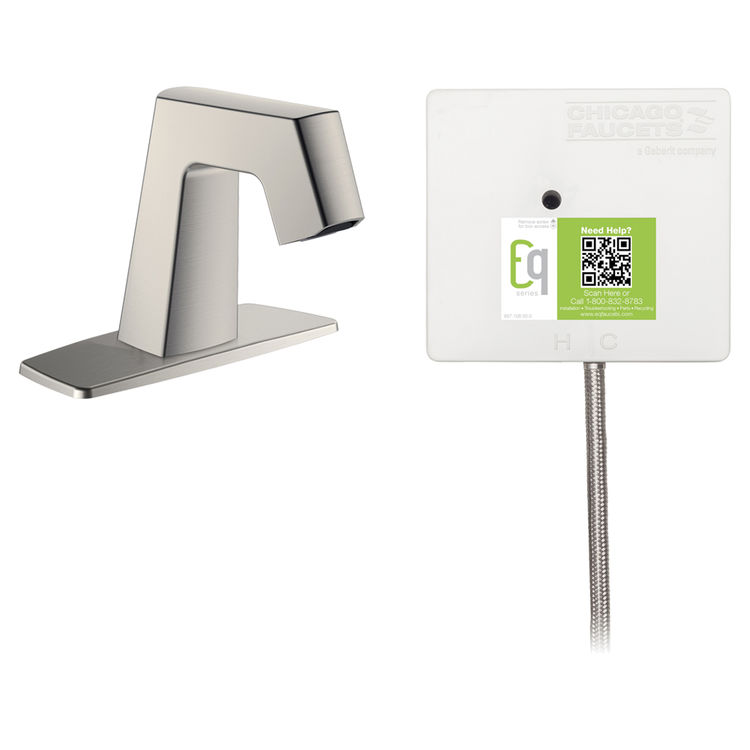 View 2 of Chicago Faucet EQ-B12A-51ABBN Chicago Faucets EQ-B12A-51ABBN EQ Brushed Nickel EQ Angular Series Lavatory Sink Faucet with Hands-free Infrared Detection