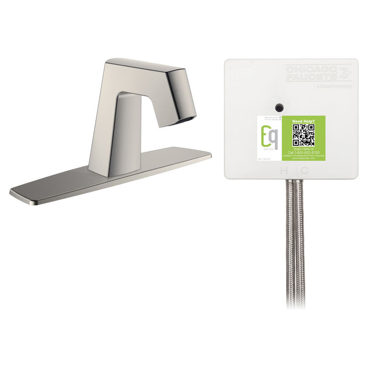 View 2 of Chicago Faucet EQ-B13A-12ABBN Chicago Faucets EQ-B13A-12ABBN EQ Brushed Nickel EQ Angular Series Lavatory Sink Faucet with Hands-free Infrared Detection, 8