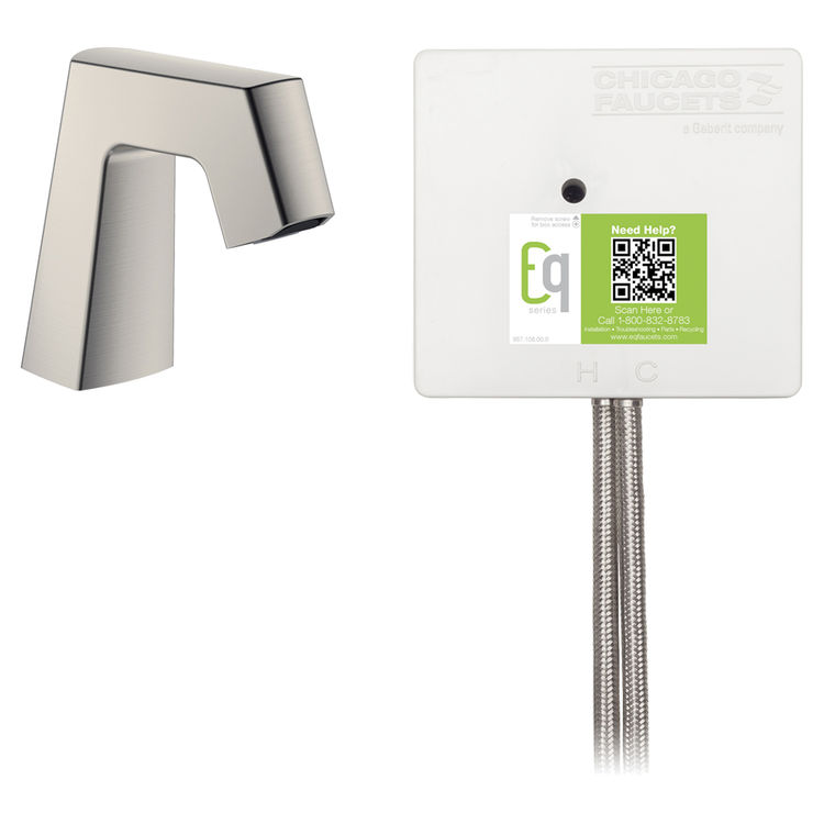 View 2 of Chicago Faucet EQ-B11A-42ABBN Chicago Faucets EQ-B11A-42ABBN EQ Brushed Nickel EQ Angular Series Lavatory Sink Faucet with Hands-free Infrared Detection